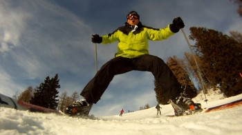 Freedom of skiing in Nassfeld, Austrian Alps. Video clip