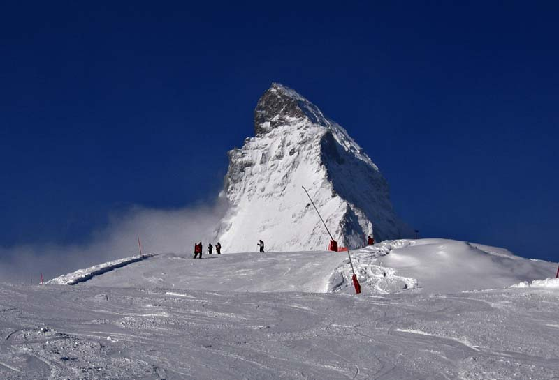 Zermatt: alpine skiing in shadow of Matterhorn