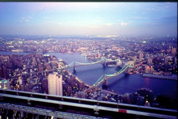 NY: sunset from the roof of WTC (Twin Towers) when they existed…